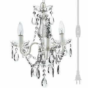 "The Original Gypsy Color 3 Light Mini Plug-in Crystal Chandelier for H17"" W12"","