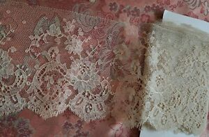 WOW!  Wide Alencon French Antique Lace CHANTILLY vintage edging 5+ yards !!