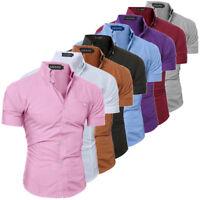 New Luxury Men's Slim Fit Shirt Short Sleeve Stylish Formal Casual T-shirt Tops