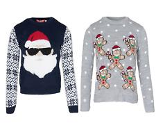 Kids Girls Boys Christmas Santa Sunglass MultiGingerbred Novelty Xmas Jumper Top