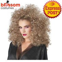 W725 Adult 3/4 Curly Fall Blonde Disco Afro Wig Hair Retro 1960s 1970s Disco