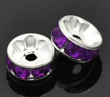 8mm PURPLE Rhinestone Spacer Rondelle Beads 10 pcs silver core bme0223