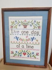 """""""Live One Day at a Time"""" Cross Stitch Sampler 14"""" x 18"""""""