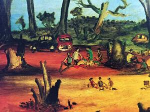 """Large signed PRO HART colour offset lithograph, """"Steven's Creek Picnic"""""""