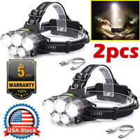 2PCS 350000LM 5X T6 LED Rechargeable Headlamp Headlight Flashlight Head Torch US