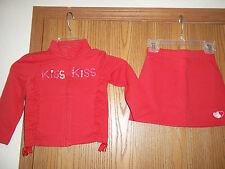 Gymboree Toddler Girls Size 4 Red KISS Hearts Longsleeved Jacket Red Skort