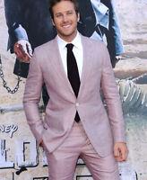 Pink Suit Linen Mens Blazer Suit Slim Fit Tuxedo Peaked Lapel Party Formal Suits