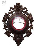 splendide grand miroir de sorcière en chêne sculpté 19ème - vigne