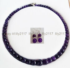 Fashion Beautiful 6-14mm Amethyst Round Beads Necklace + Earrings Set 18 Inch