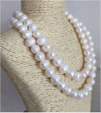 Huge 12-13mm Baroque Natural South Seas White Pearl Necklace 36inch JN1986