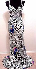 LA FEMME Sz XS S 4 Long Silk Evening Dress SEXY Backless Animal Floral Beads