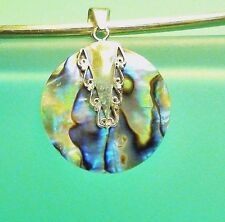 """1"""" Round Abalone Paua Shell Handmade 925 Solid Sterling Silver Pendant"""