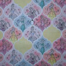 BonEful Fabric FQ Cotton Quilt White Disney Princess Cinderella Belle Jasmin Dot