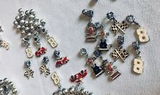 Silver Plate Earnhardt Bracelet Charms and Beads 129 Pieces