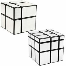 Shengshou Mirror Cube Set 2x2 3x3 Mirror Blocks Puzzle Cube Toys Silver Bundle