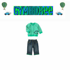 "Gymboree Baby Boys Green ""We Have Arrived""crew top/ jeans 2 Piece Set 12-18m"