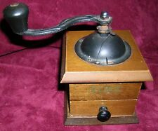 Vintage Style Elma Hand Operated Coffee Grinder / Mill Wood Base Metal Top Dome