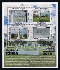 Tonga - 2016 75th Anniversary of World War I Postage Souvenir Sheet