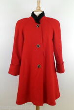 JOFELD Vintage Red Wool Blend Black de Ball Velvet Trim Swing Coat sz S
