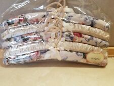 "New 5 Fabric Padded Clothes Hangers Flowers Roses ""Once Upon A Rose"""