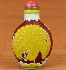 20th Antique Coloured Glaze Handmade Carved Peacock Statue rare Snuff Bottle