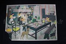 O932 Affiche scolaire école le REPAS du SOIR soupe feu table BOURRELIER Poirier