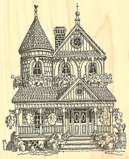 Victorian House Wood Mounted Rubber Stamp IMPRESSION OBSESSION - NEW, G1746