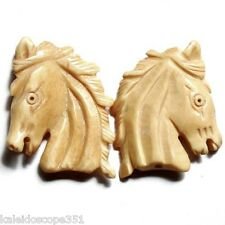 CARVED BONE HORSE HEAD BEAD LARGE 35X28MM 2 BEADS B2
