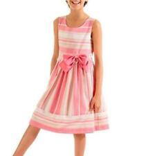 BONNIE JEAN® Little Girls' 5 Coral Stripe Linen to Lace Dress NWT