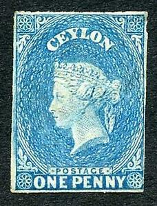 Ceylon SG2 1d Deep Turquoise-blue (Cleaned at re-gummed) Attractive