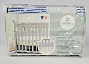 Carter's Take Flight Crib Liner Blue and White Stripe Crib Pad