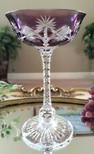 St Louis Vintage Purple Cut to Clear Crystal Wine Champagne Saucer Dessert Glass