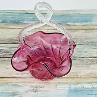 Hand Blown Art Glass Basket - Cranberry - Clear Loop Handle - Scalloped Edge