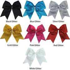 """50 USA Glitter Cheer Bows 7"""" Hair Bow for Girls Ponytail Holder Teen Big Large"""