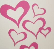 Set of 18 Love Hearts Removable Heart Wall Stickers Nursery Double Swirl Outline