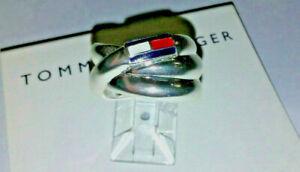 Tommy Hilfiger Silver Swirl Ring sz 7 logo red white blue designer card fine NWT