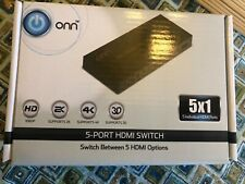 ONN 5-Port High Speed HDMI Switch with IR Wireless Remote and AC Power Adapter