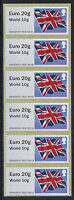 NCR TYPE IIA FLAG FLAGS STRIP 0F 6  EURO 20g/WORLD 10g POST & GO