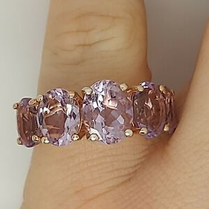 Sterling silver Ring 925 9ct gold over Kunzite gem stone cocktail Q½ T49.