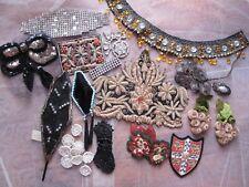 Opulent Lot Of 23 Antique Ornaments, Appliques & Trims - Bullion Glass Chenille
