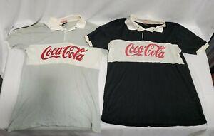 Vintage coca cola polo shirts RARE Black/Grey XL Rugby Style