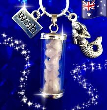 Mermaid Rose Quartz Wish Glass Bottle Pendant 925 Sterling Silver Necklace Gift