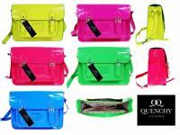 Ladies Womens Girls School Satchel Patent Pvc Leather Bag Classic Bags Neon Q421