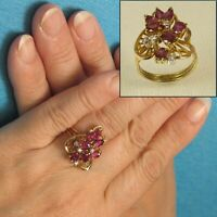 Natural Red Marquise &Oval Ruby, Diamond Cocktail Ring 14k Yellow Solid Gold TPJ