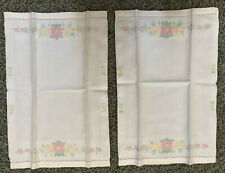 Set 2 Vintage Pure Irish Linen Guest Towels Drawnwork Floral Lovely Woven Detail