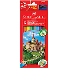 FABER CASTELL - CLASSIC COLOUR PENCIL SET OF 12 - FREE SHARPENER