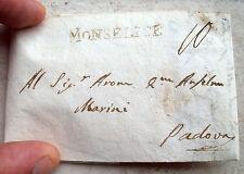 1808 PREFILATELICA DA MONSELICE A PADOVA. ANNULLO LINEARE. INVIATA AD EBREO