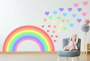 PASTEL RAINBOW & HEARTS WALL STICKER KIT nursery art colourful children bedroom