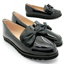 WOMENS LADIES  FLAT CREEPER CHUNKY SOLE SCHOOL WORK DOLLY BOW LOAFERS SHOES SIZE