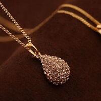 Women Fashion Rhinestone Crystal Gold Silver Teardrop Chain Pendant Necklace